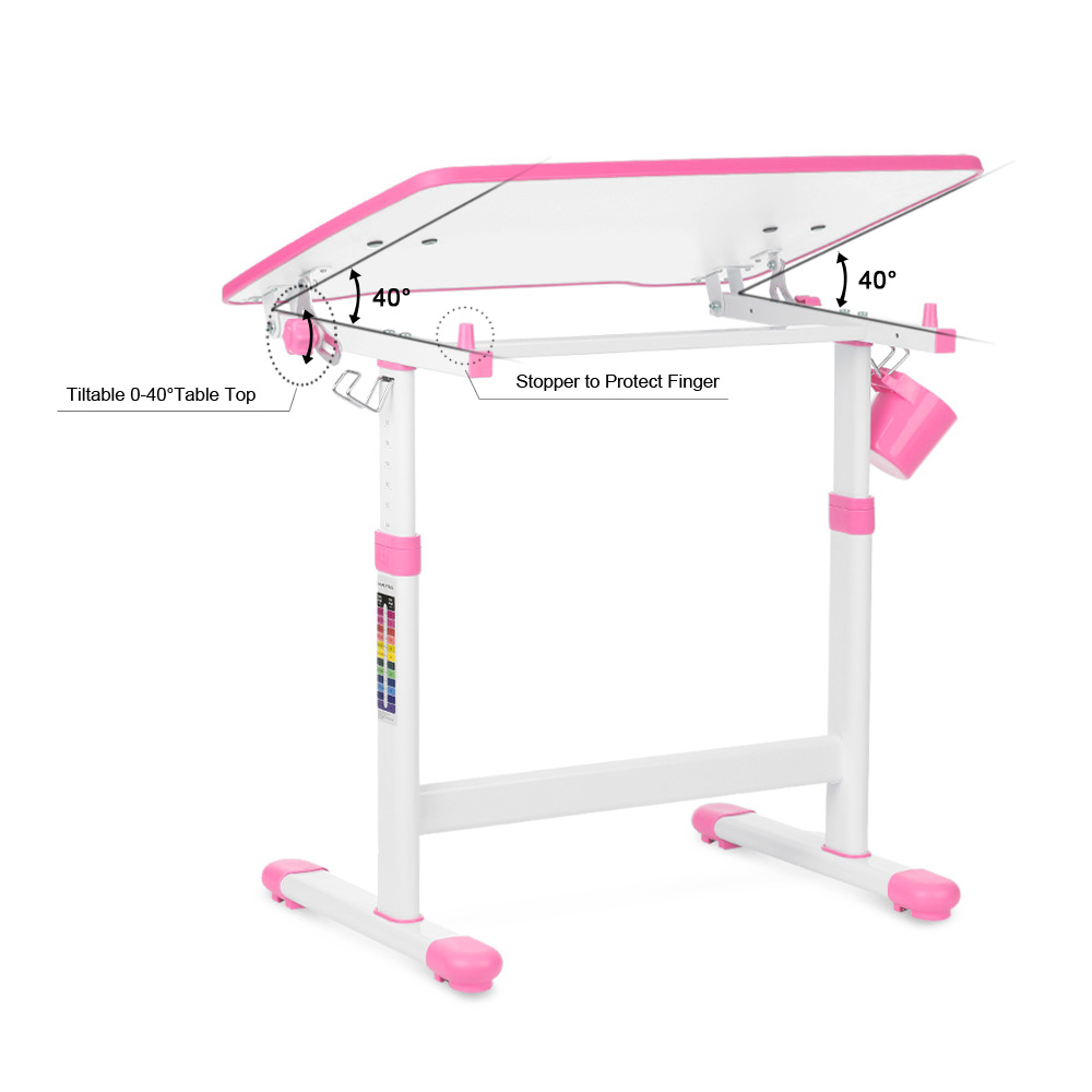 Pink Ikayaa Height Adjustable Kid S Study Desk Amp Chair Set