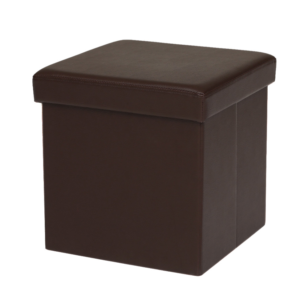 bo te de rangement rabattable ikayaa pouf en cuir pu brun. Black Bedroom Furniture Sets. Home Design Ideas