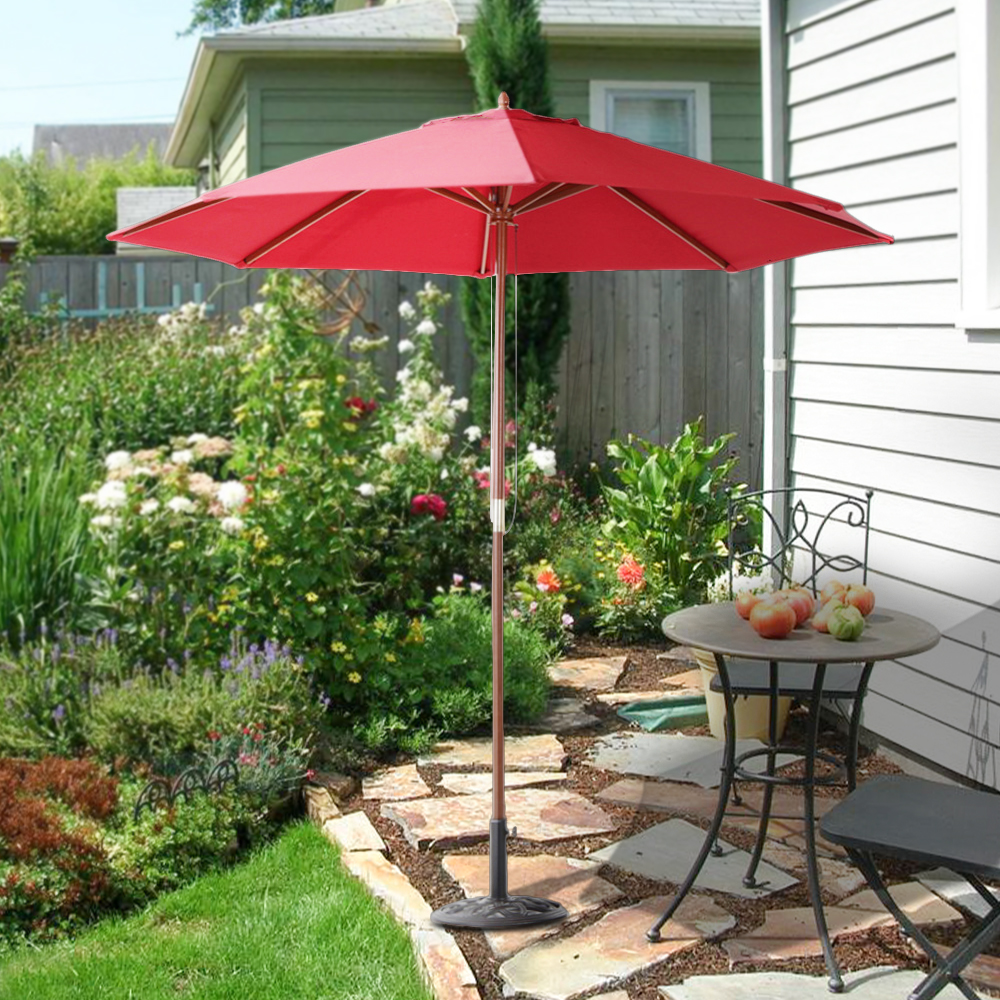 41 IKayaa 2.7M Wooden Patio Garden Outdoor Umbrella