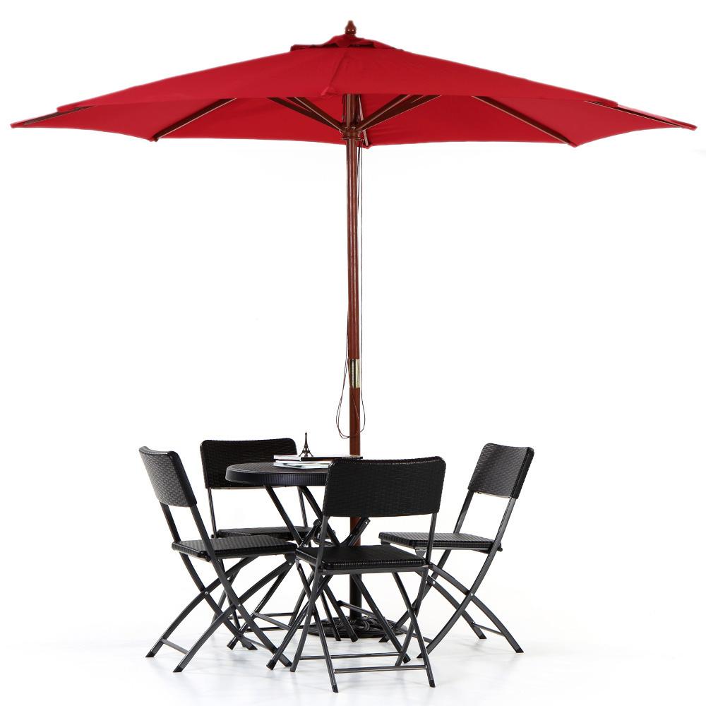 Ikayaa 3m bois patio jardin parasol pour soleil ext rieur for Table exterieur 3m