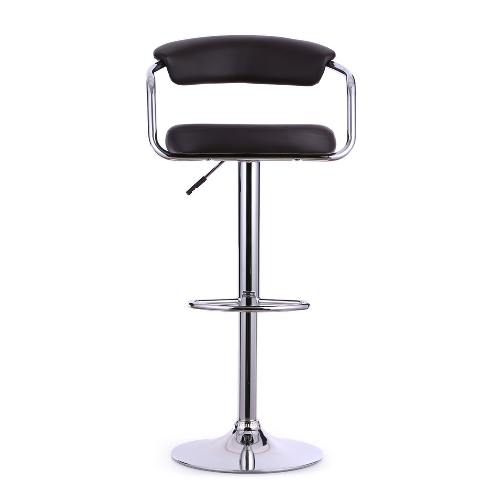 Tabouret de bar en cuir pu marron fonc interougehome h16718fr for Housse pour tabouret de bar