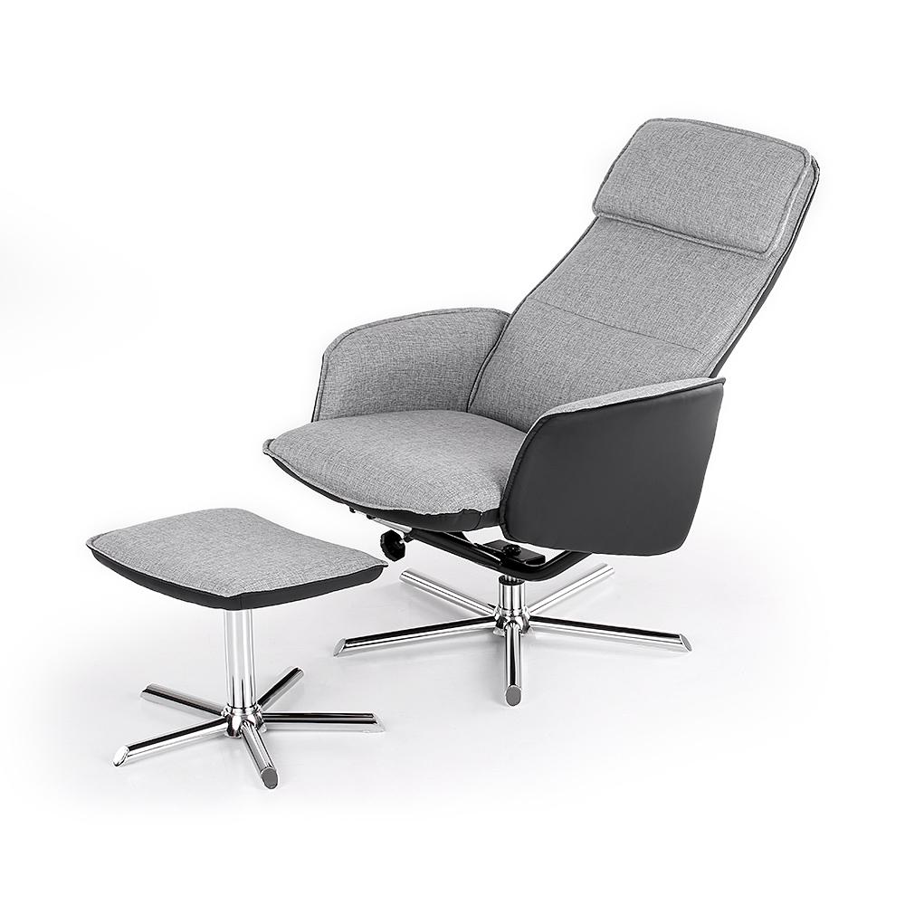 Fauteuil relax avec son repose pied simili cuir noir et gris