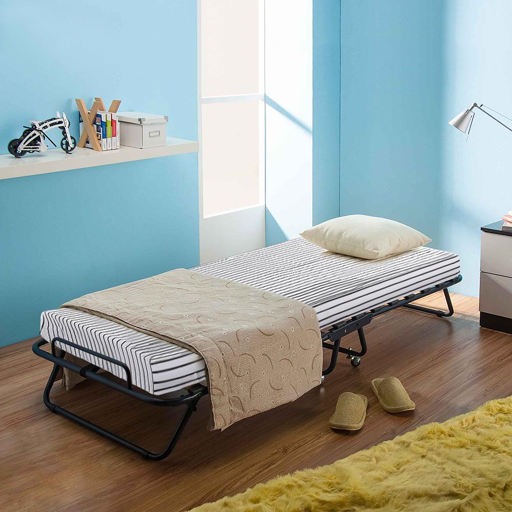 ikayaa metal bois lit simple pliant pour invit avec. Black Bedroom Furniture Sets. Home Design Ideas