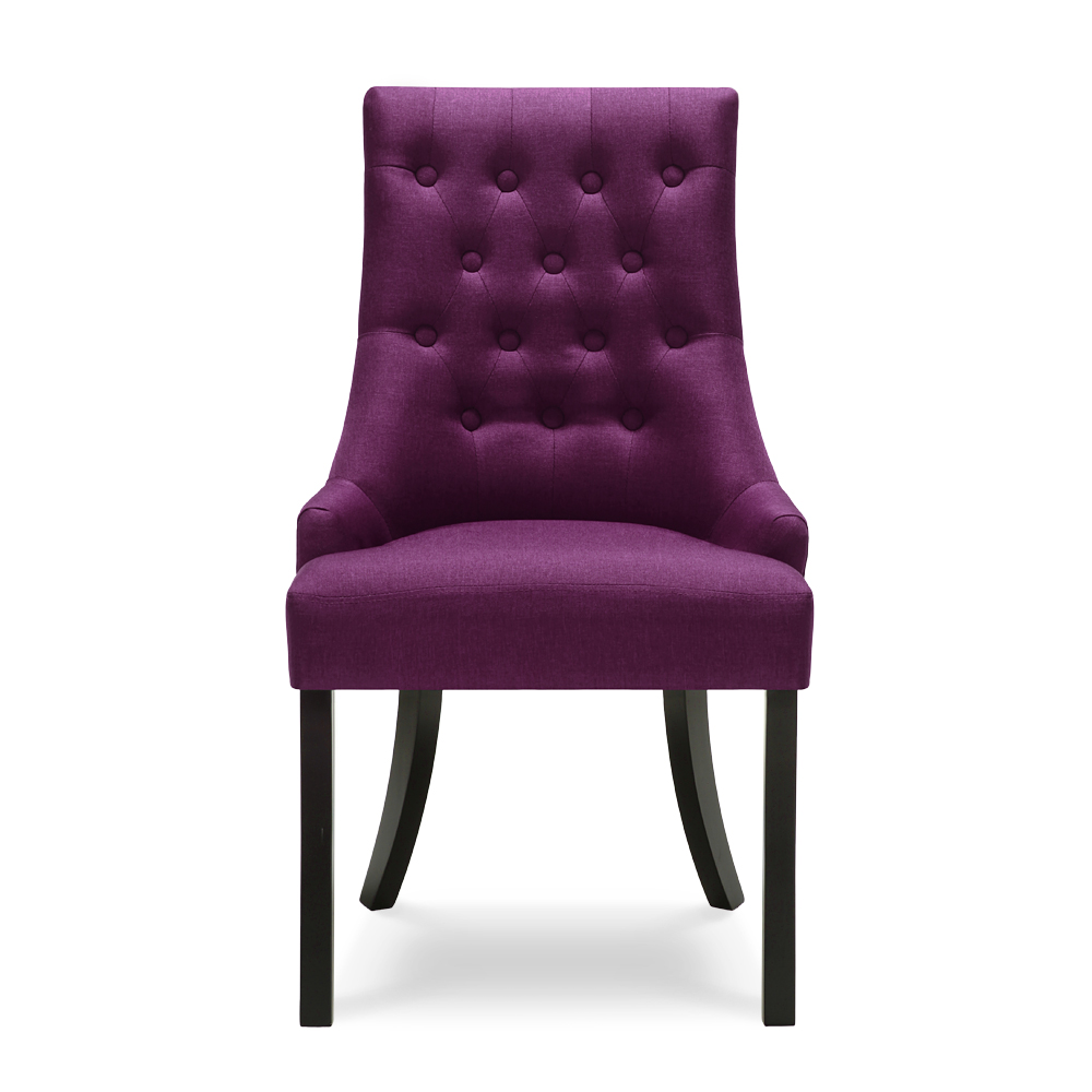 Chaise de s jour capitonn e en lin de couleur violet for Chaise sejour contemporaine