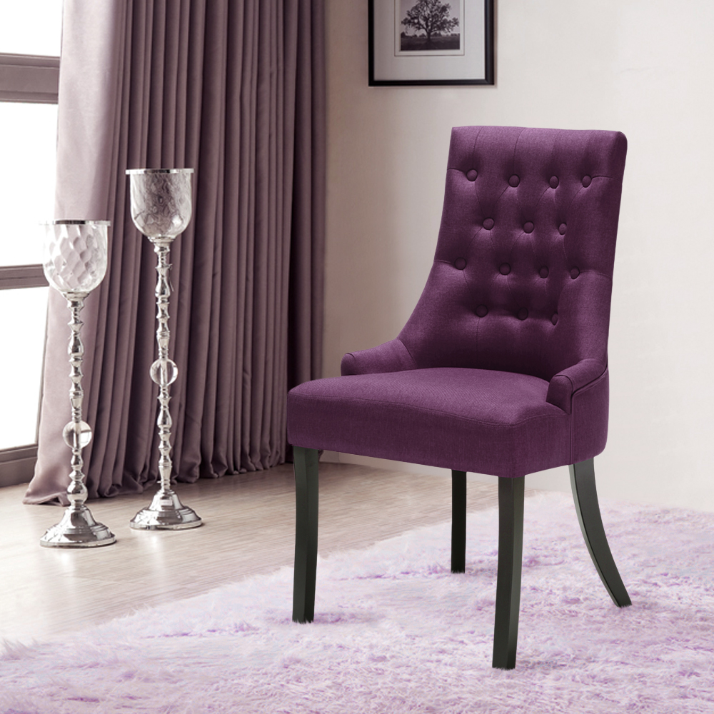Accent Dining Room Chairs: Purple IKayaa Accent Linen Fabric Dining Room Chair