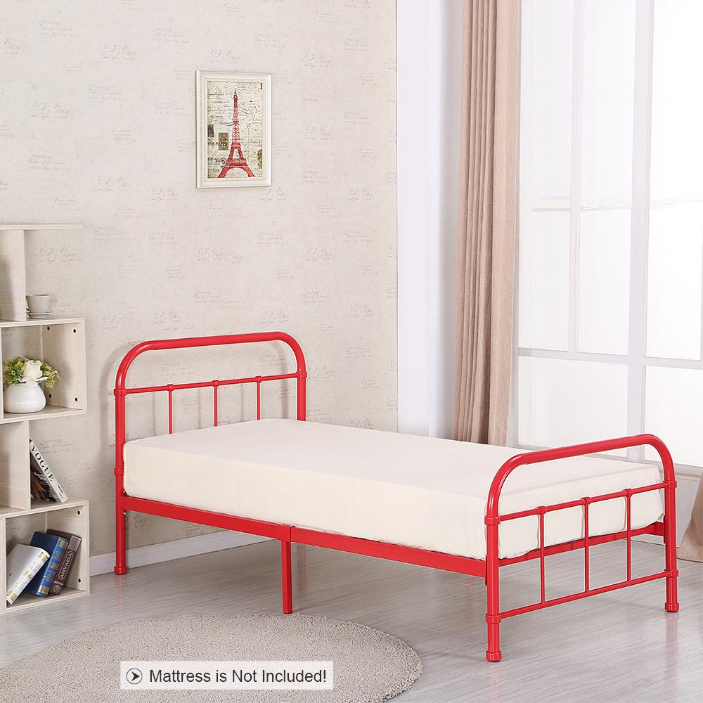Nur 258.29€, iKayaa Metallplattform Twin Size Schlafzimmer ...