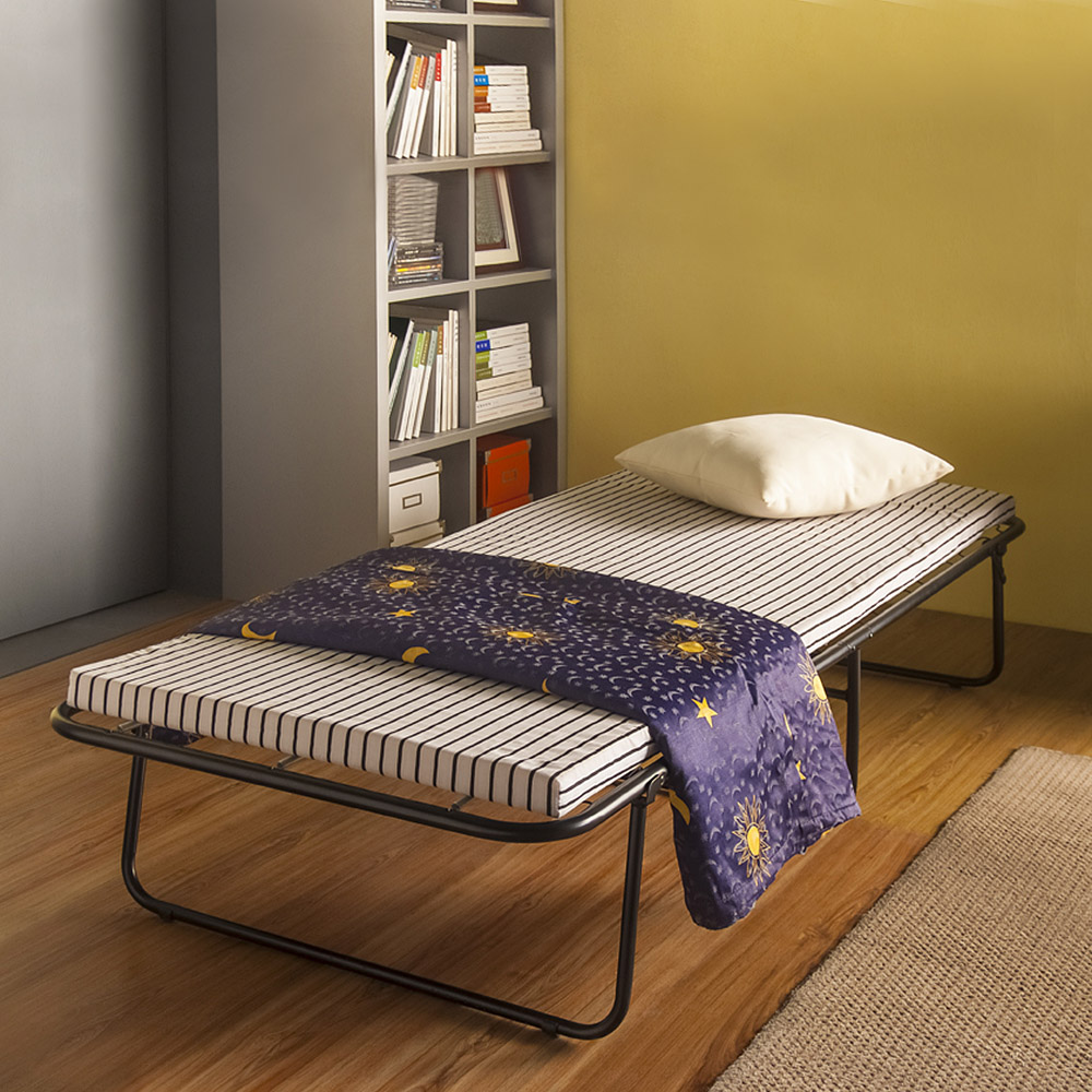 Black Ikayaa Portable Small Single Folding Bed Cot With