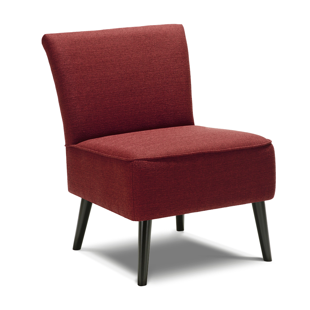 Burgundy Ikayaa Padded Linen Fabric Wood Accent Side Chair