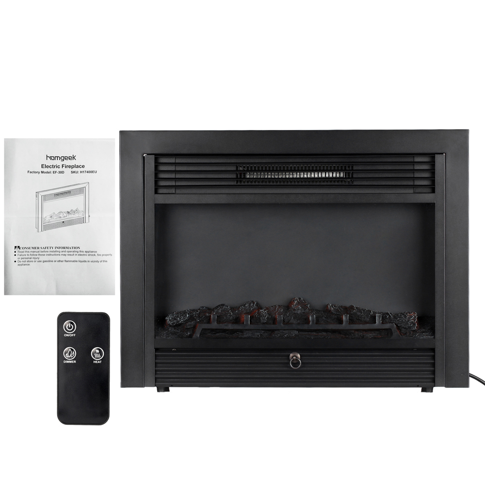 Decdeal Embedded Electric Fireplace Insert Heater LED Glass View Adjustable