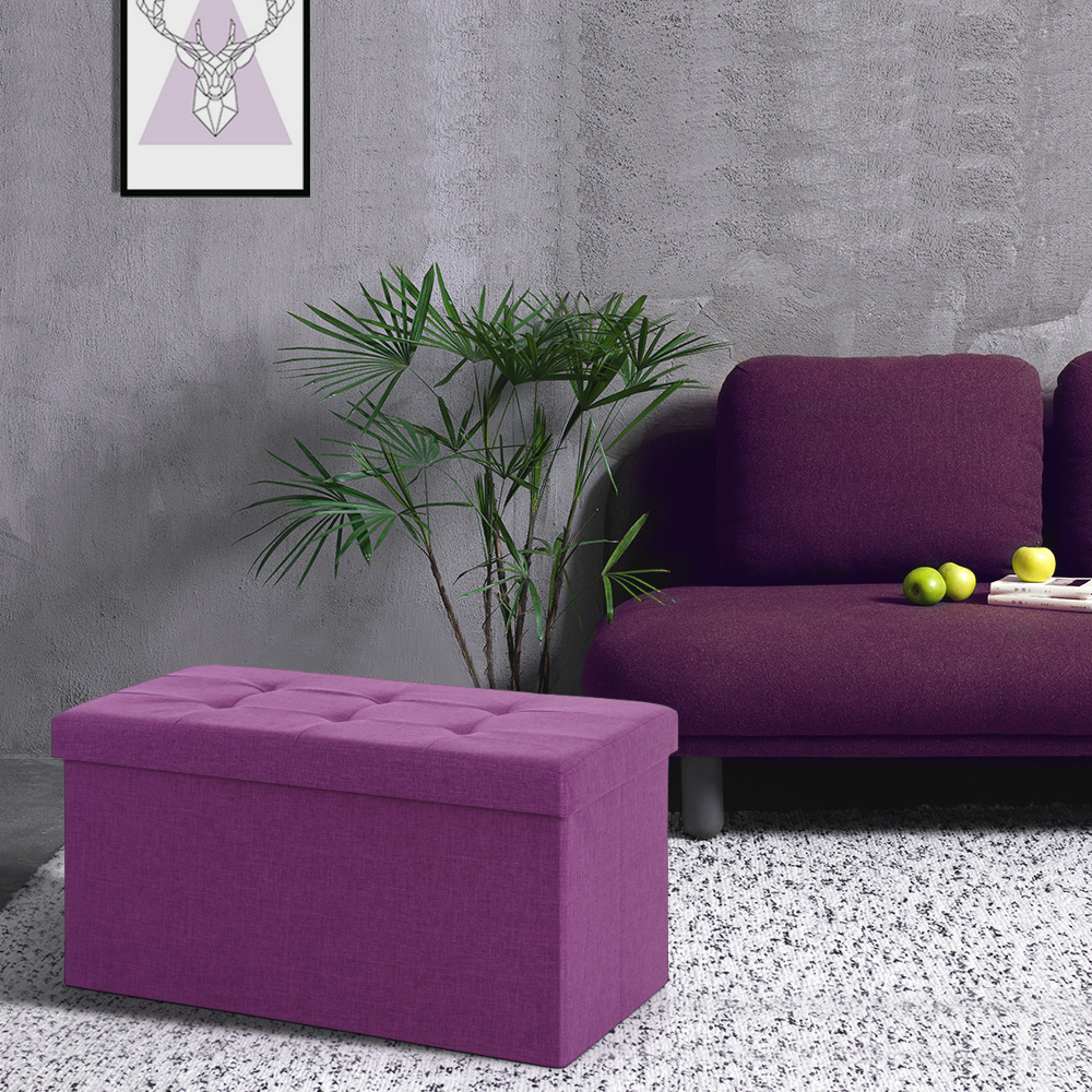 Admirable Purple Ikayaa Modern Linen Fabric Folding Storage Ottoman Bench Lovdock Com Forskolin Free Trial Chair Design Images Forskolin Free Trialorg