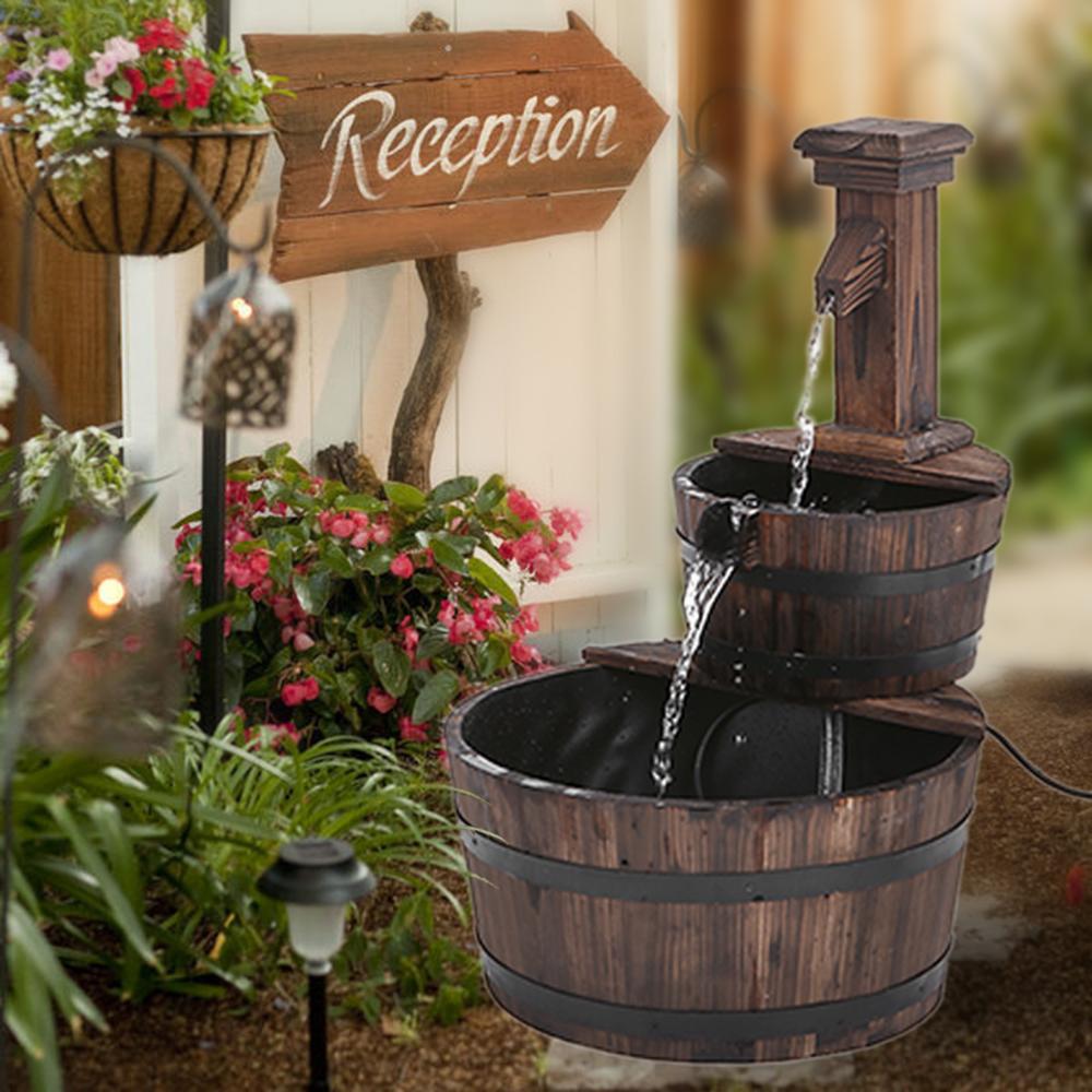 Nur 27.59€, iKayaa 3 Tier Holz Fass Outdoor Wasserbrunnen - LovDock.com