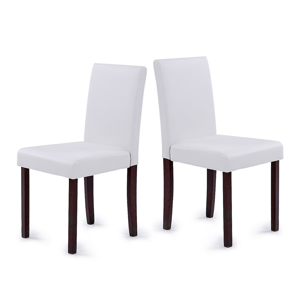 white ikayaa 2pcs modern leather wood kitchen dining chairs