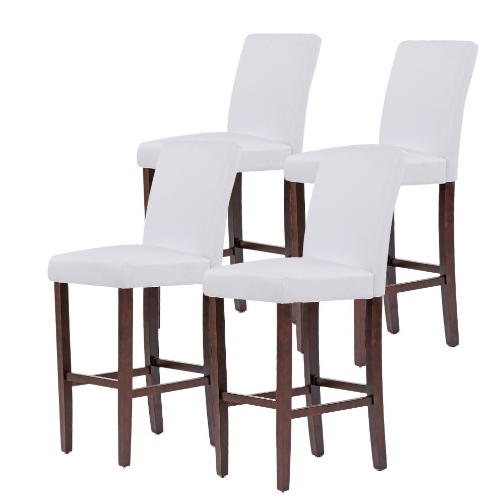 White Ikayaa 2 Pcs Leather Wood Bar Pub Kitchen Dining Chairs