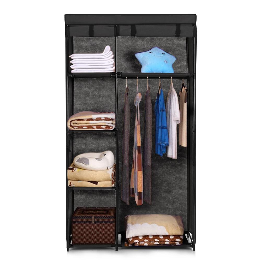 Ikayaa Portable Roll Up Fabric Clothing Closet Wardrobe Cabinet