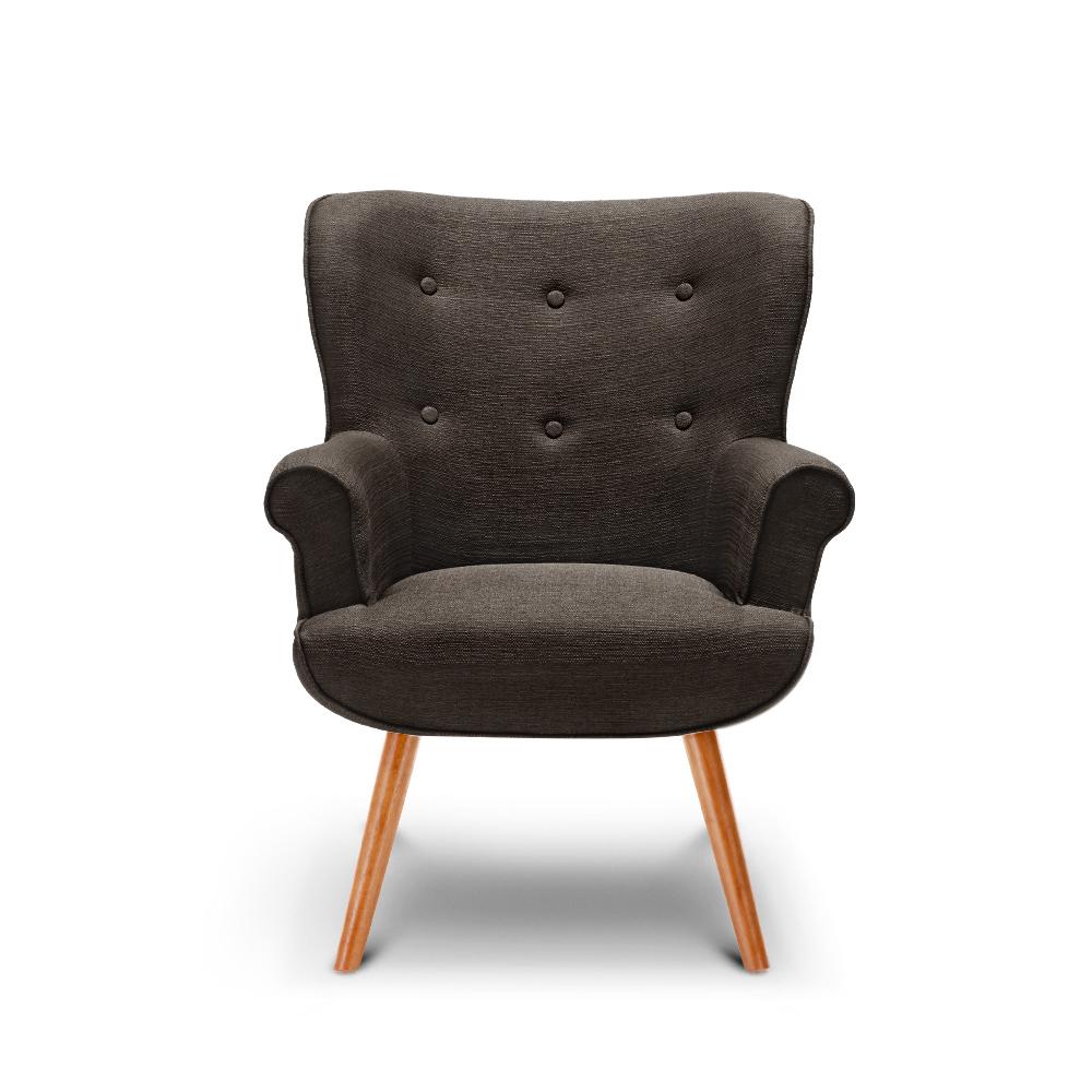 fauteuil scandinave en bois et lin caf interougehome h17024fr. Black Bedroom Furniture Sets. Home Design Ideas