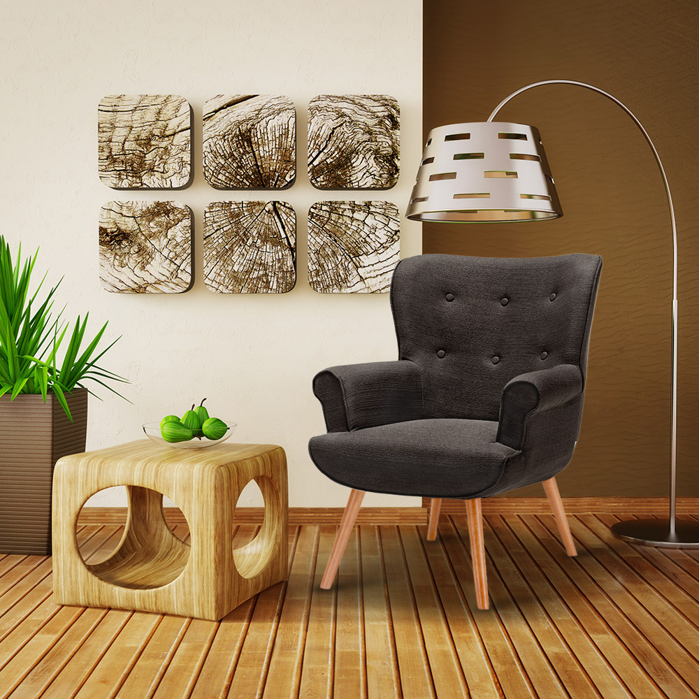 IKayaa Zeitgenössische Stoff Akzent Wohnzimmer Stuhl Sessel
