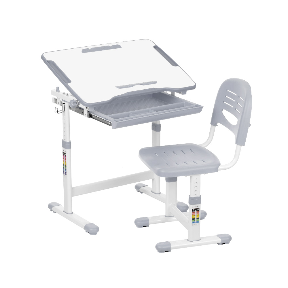 Ikayaa Height Adjule Kid S Study Desk And Chair Set With Paper Roll Holder