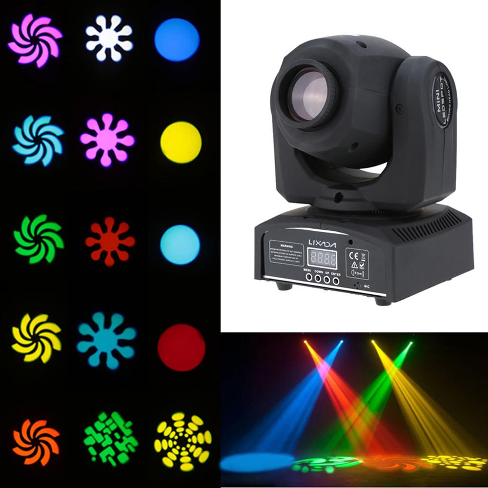 2stk Lixada Mini LED Moving Head Bühnenbeleuchtung DMX 512 Gobo Spot Lichteffekt