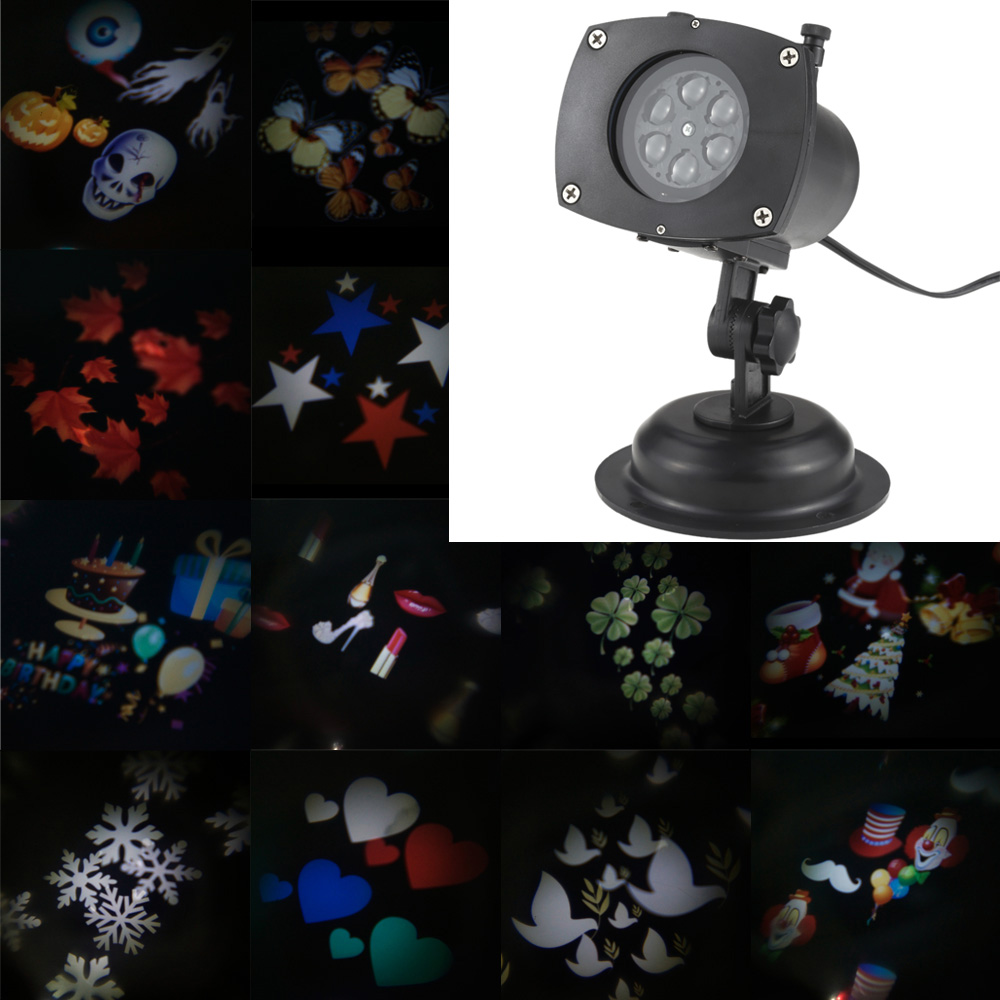 Lixada tomshine halloweenchristmaseaster projector lamp rotating led projection light 12 patterns pumpkinghostheartsnowflake 12 replaceable lens for birthday aloadofball Images