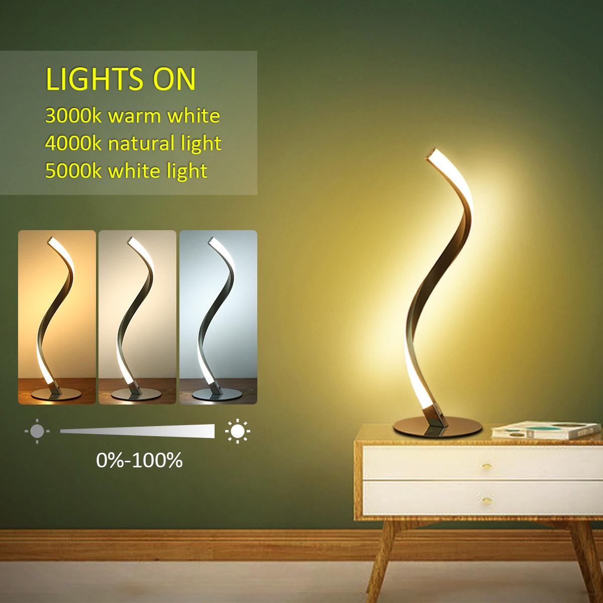 Tomshine 6w Spiral Led Table Light Dimmable 3 Lighting Colors Bedside Desk Lamp Nightstand Lamp For Bedroom Living Room Office