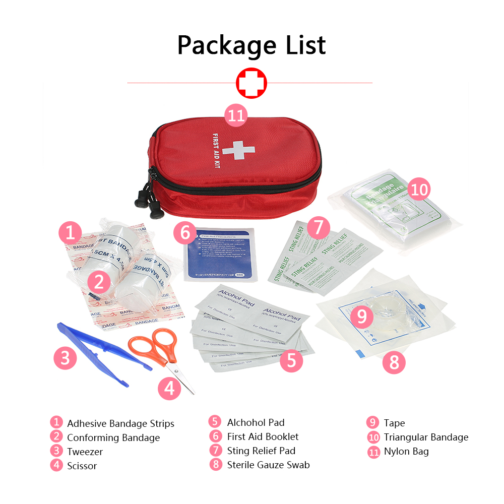 red Decdeal 31PCS Water-Proof First Aid Kit