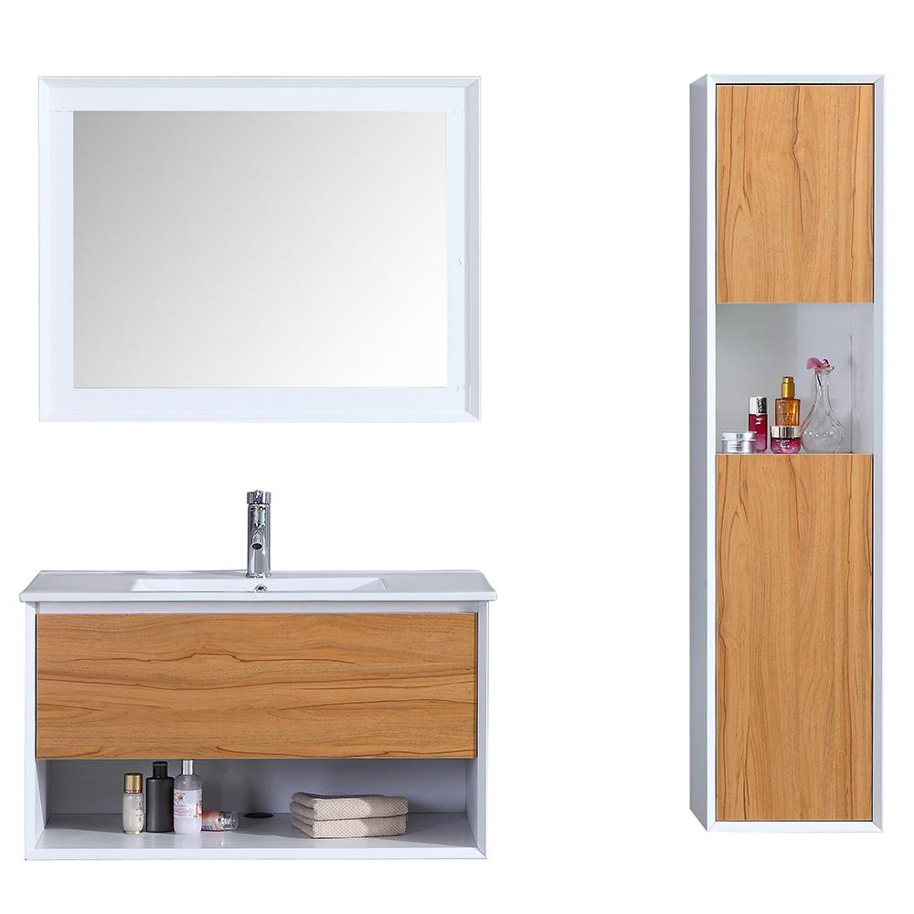Nur 599.00€, natürliches holz ALOA - Meuble salle de bain simple vasque  90cm colonne de rangement + miroir chêne brut - Interouge