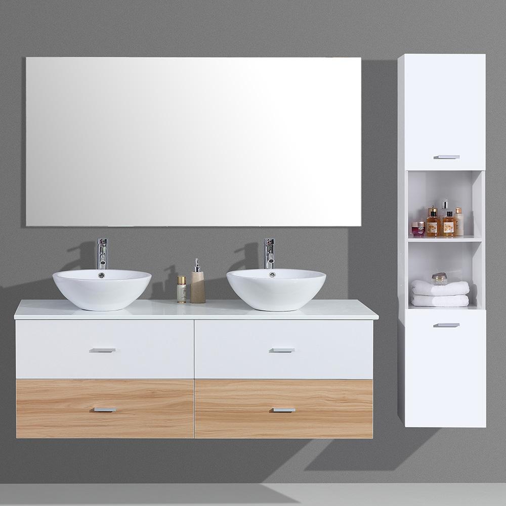 Meuble de salle de bain aloa suspendu avec double vasque for Meuble salle de bain double vasque noir et blanc