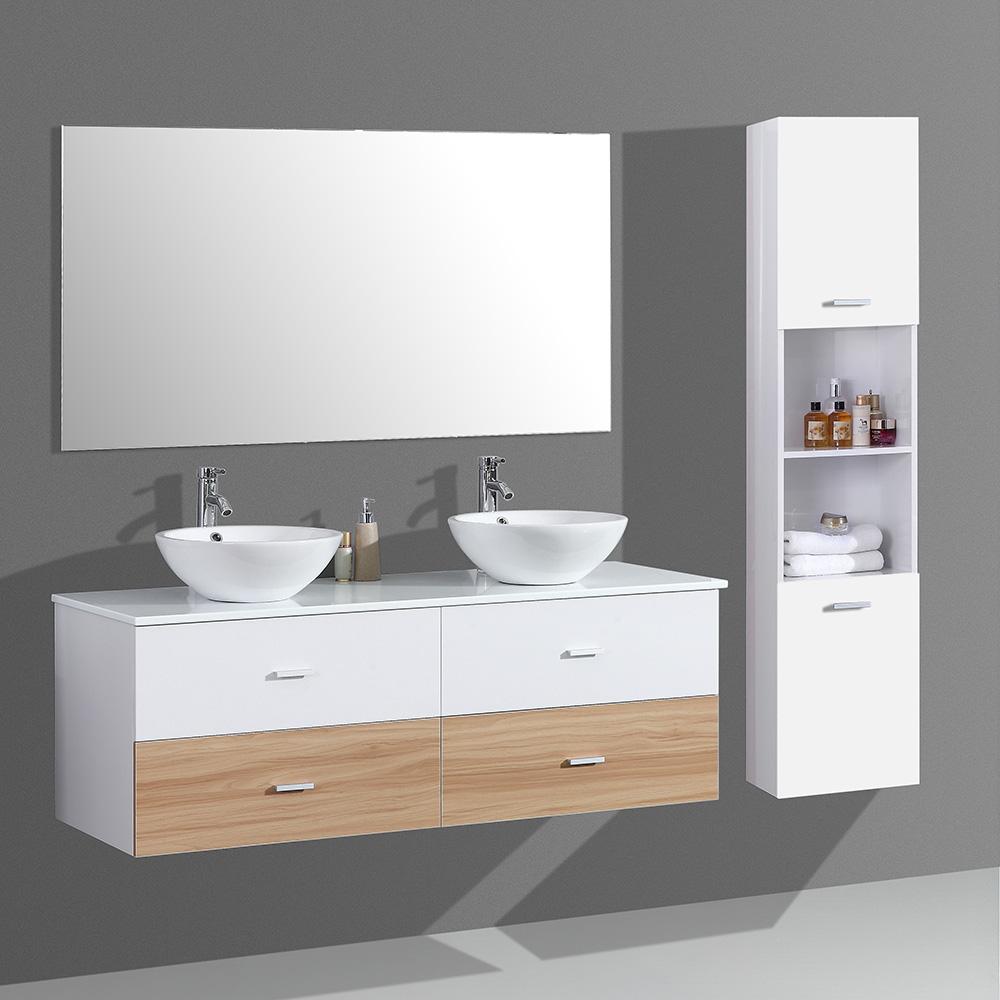 Meuble de salle de bain aloa suspendu avec double vasque coloris blanc et noir - Meuble salle de bain avec colonne ...
