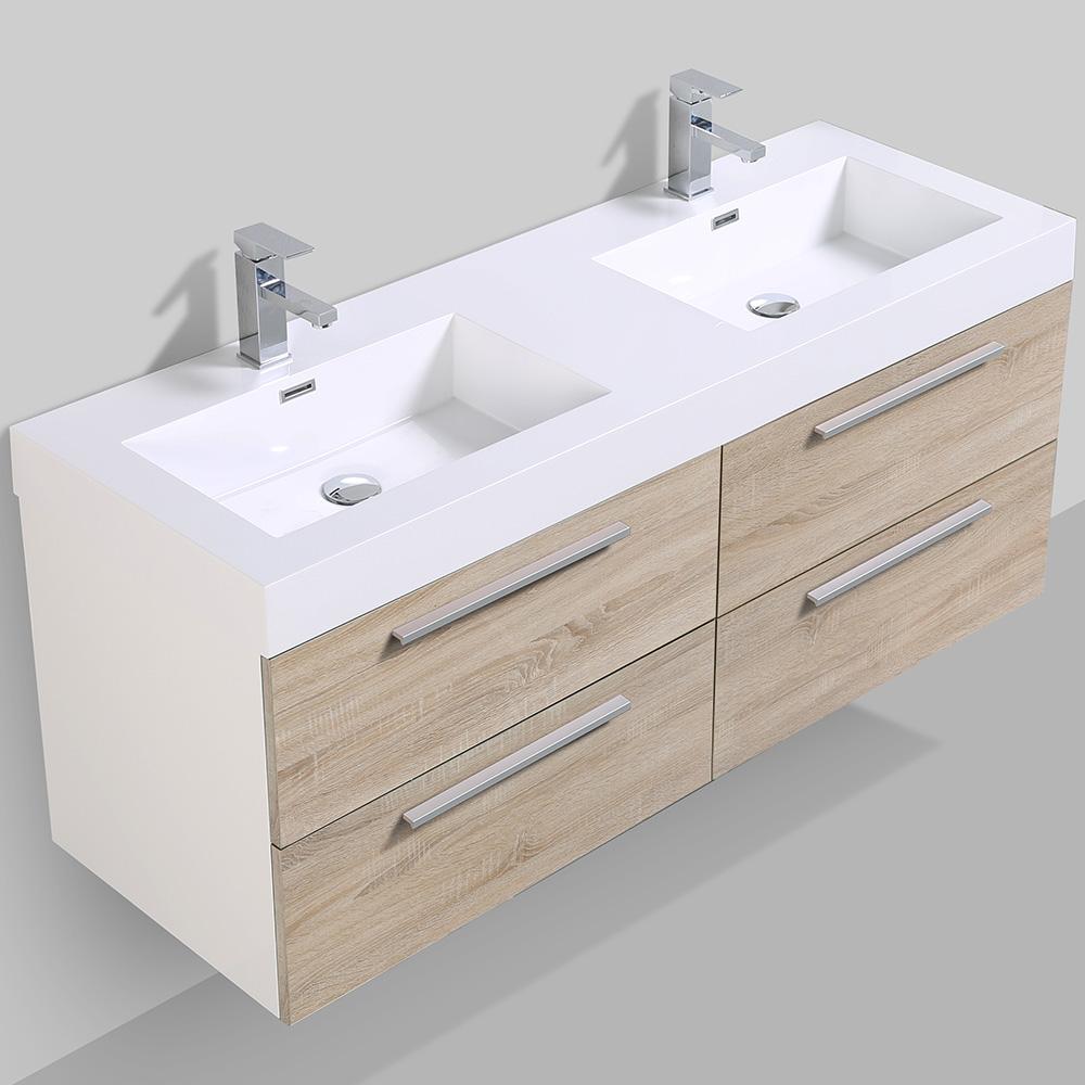 Meuble de salle de bain suspendu avec double vasque for Double colonne salle de bain