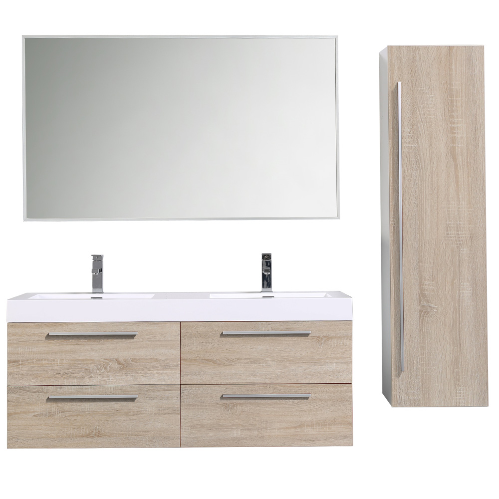 meuble de salle de bain suspendu avec double vasque coloris bois prunier. Black Bedroom Furniture Sets. Home Design Ideas