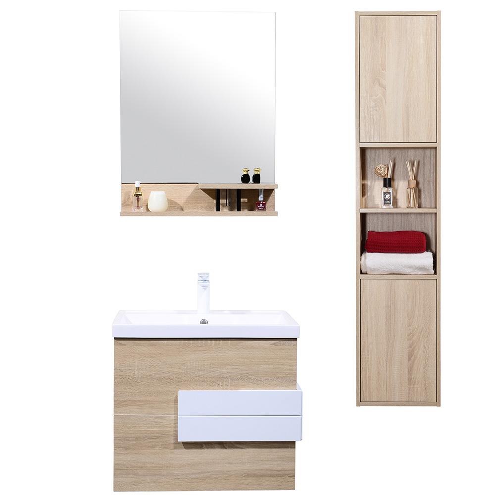 meuble de salle de bain suspendu avec simple vasque coloris bois ros. Black Bedroom Furniture Sets. Home Design Ideas