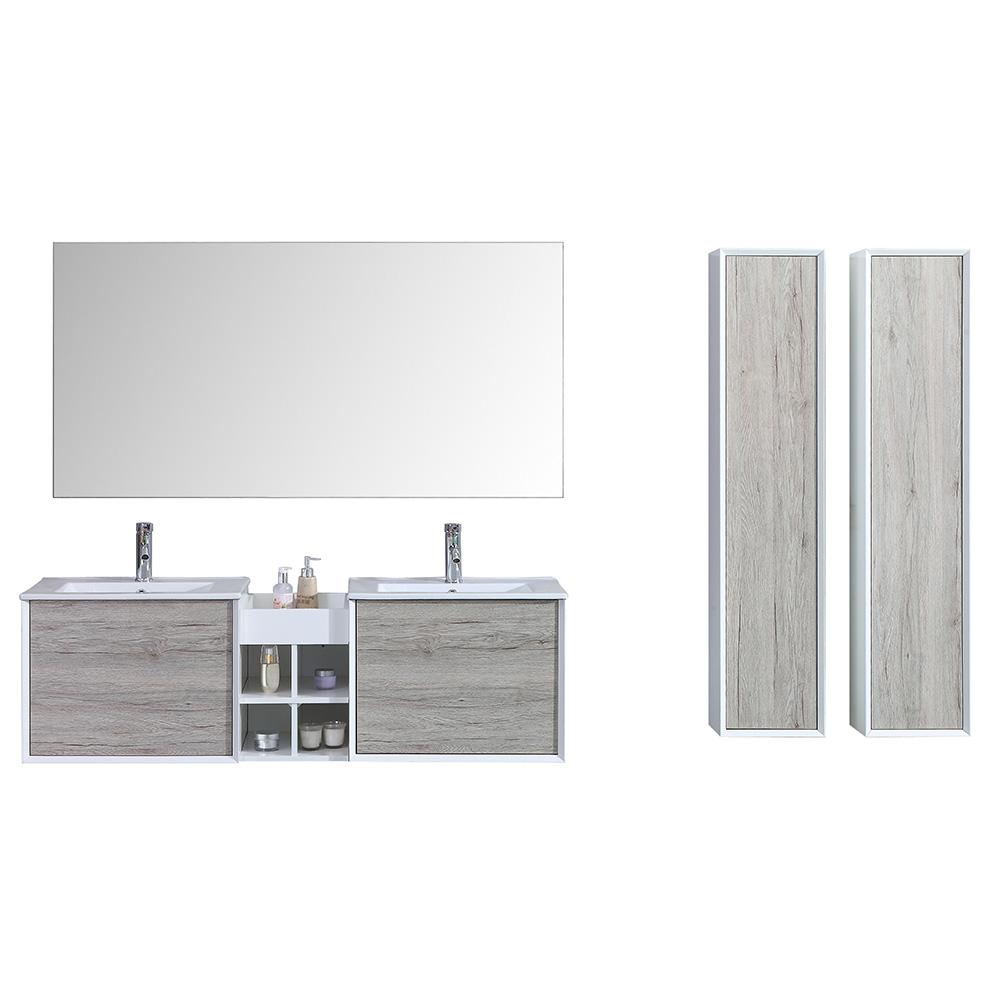 Des 890 00 Meuble Salle De Bain Avec Colonne De Rangement Et Miroir Double Vasque Aloa 2 Coloris Disponibles Gris Interougehome Com