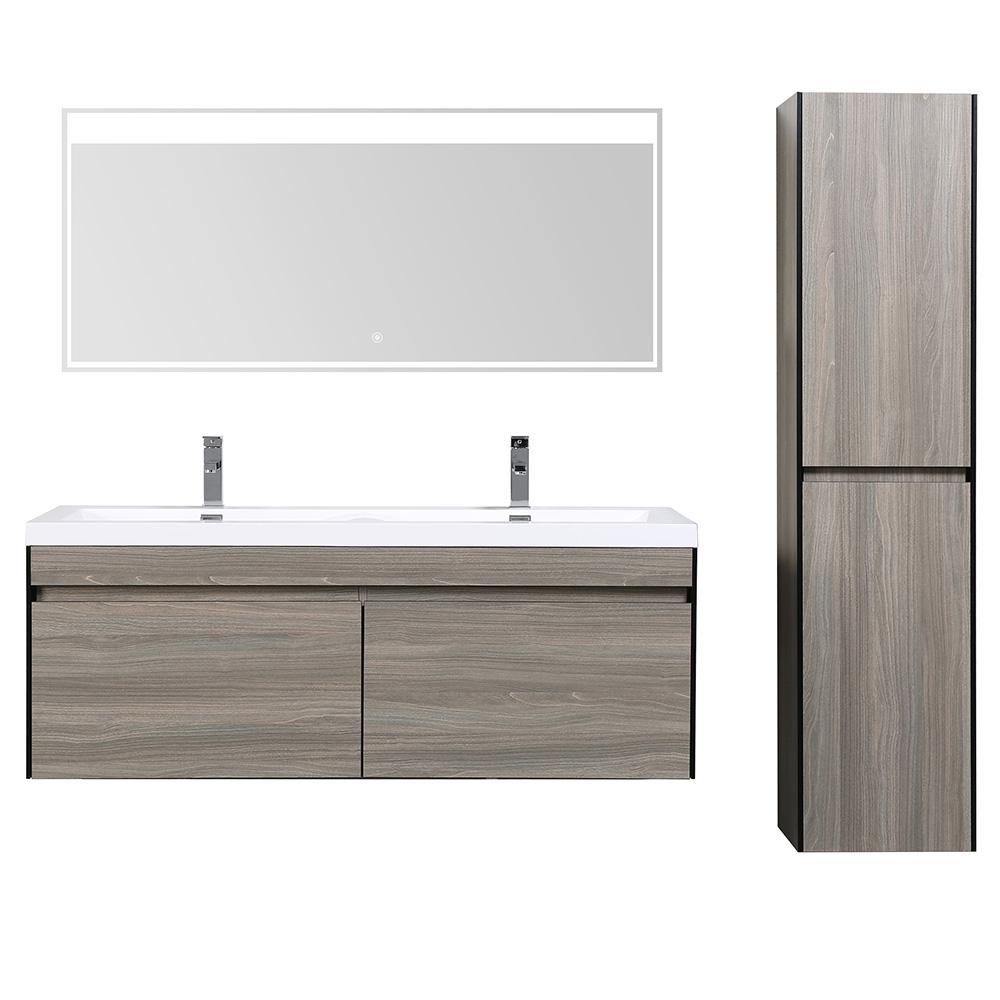 D s contemporain bois clair meuble salle de bain avec miroir led et colonne double - Colonne salle de bain avec miroir ...
