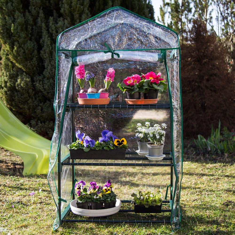 Nur 19.50€, Mini Serre de jardin botanique 3 étagères 69x49x125cm + ...
