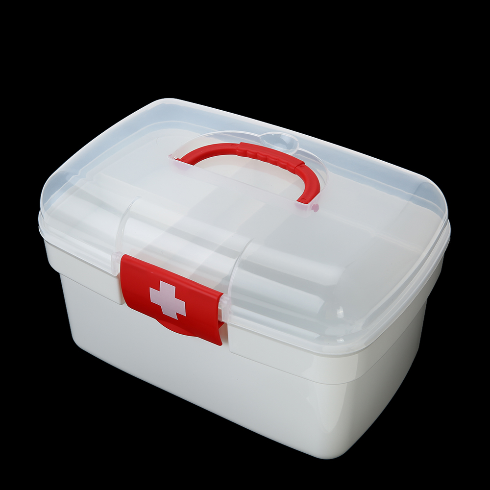 Carevas Plastic First Aid Medicine Storage Box Kit Storage Case With  Detachable Tray