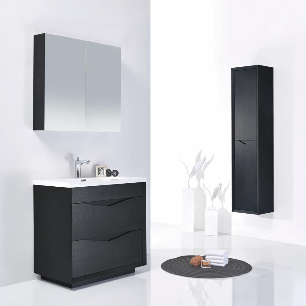 meuble salle de bain en bois simple vasque noir gris - Meuble Salle De Bain Bois 1 Vasque