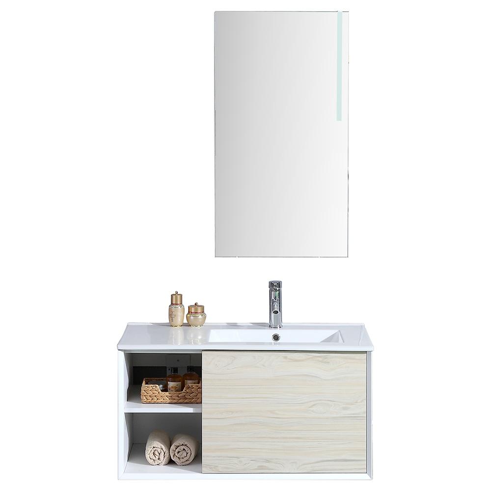 Dès 409.00€, Meuble salle de bain avec miroir LED simple vasque ALOA - 2  coloris disponibles bois - Interougehome.com