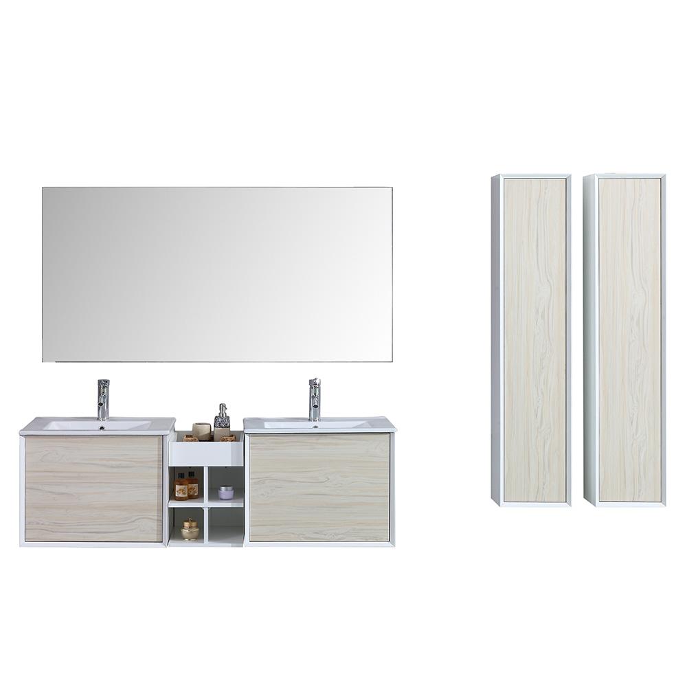 vasque avec colonne Meuble salle de bain avec colonne de rangement et miroir double vasque ALOA  - 2 coloris