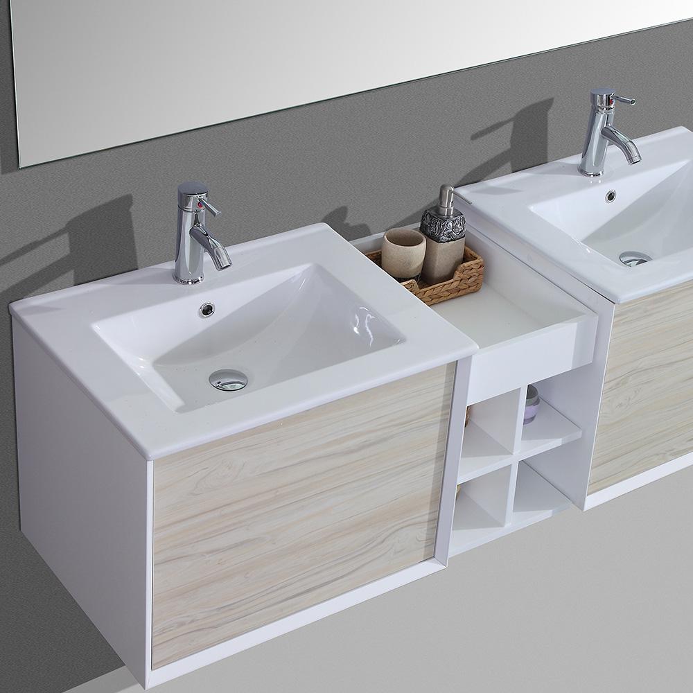 Meuble de salle de bain aloa suspendu avec double vasque - Meuble salle de bain avec vasque et miroir ...