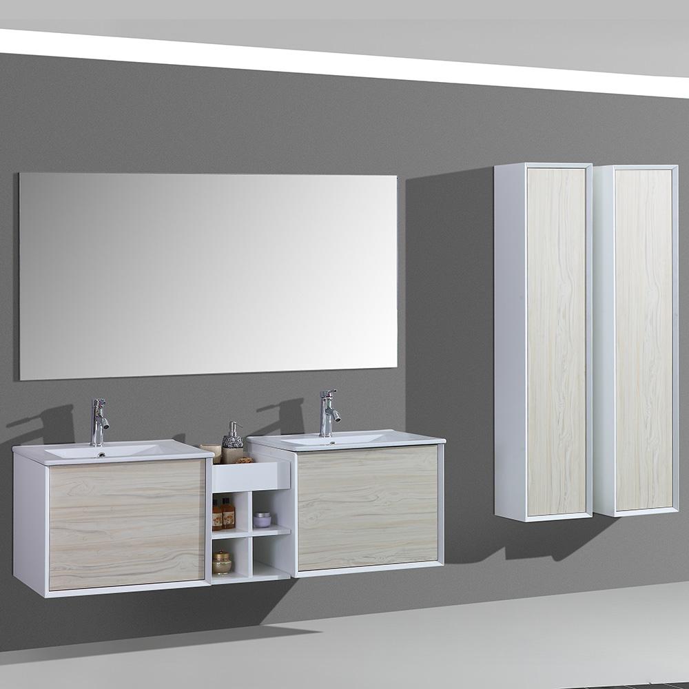 meuble de salle de bain aloa suspendu avec double vasque coloris bois nature. Black Bedroom Furniture Sets. Home Design Ideas