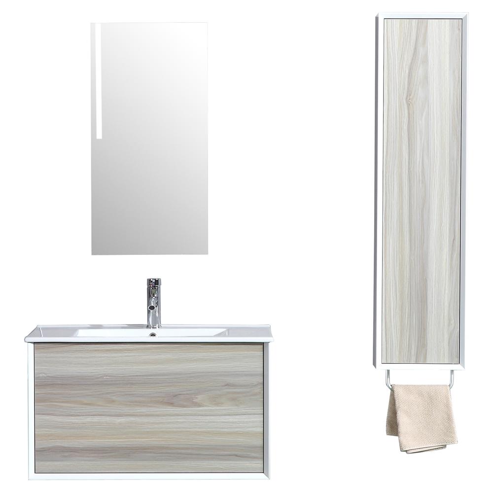 D s simple contemporain acier bois meuble salle de bain avec colonne de rangement et - Colonne salle de bain avec miroir ...