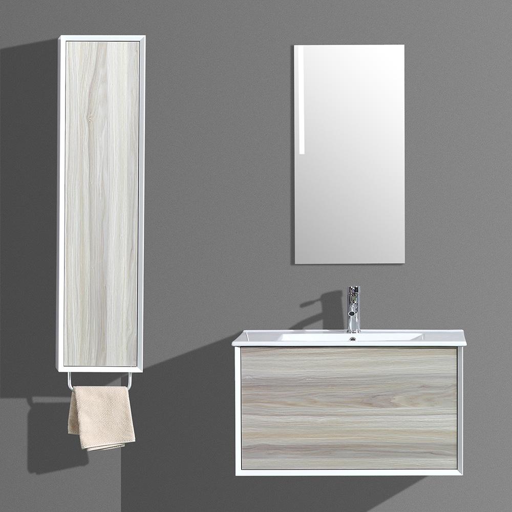 Meuble de salle de bain aloa suspendu avec simple vasque - Meuble salle de bain avec vasque et miroir ...