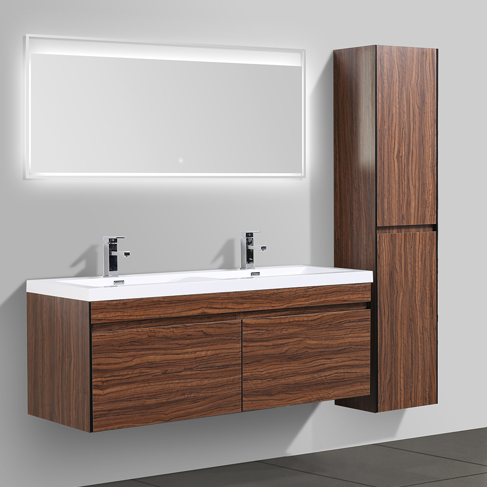 Dès 599.00€, Meuble salle de bain avec miroir LED et colonne double vasque  JAVA - 2 coloris disponibles bois foncé - Interougehome.com
