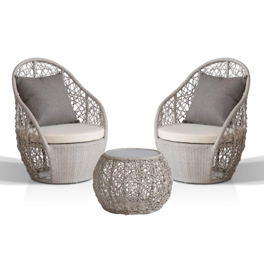 Dès 348.00€, Salon de jardin en Aluminium et rotin PE 2 places - blanc -  Interougehome.com