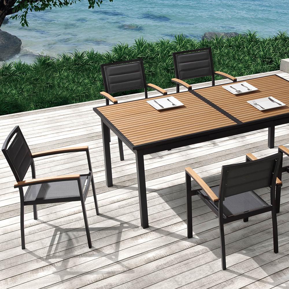 Ensemble de jardin table extensible 240cm et 8 chaises polywood et textil ne noir - Ensemble table extensible et chaise ...