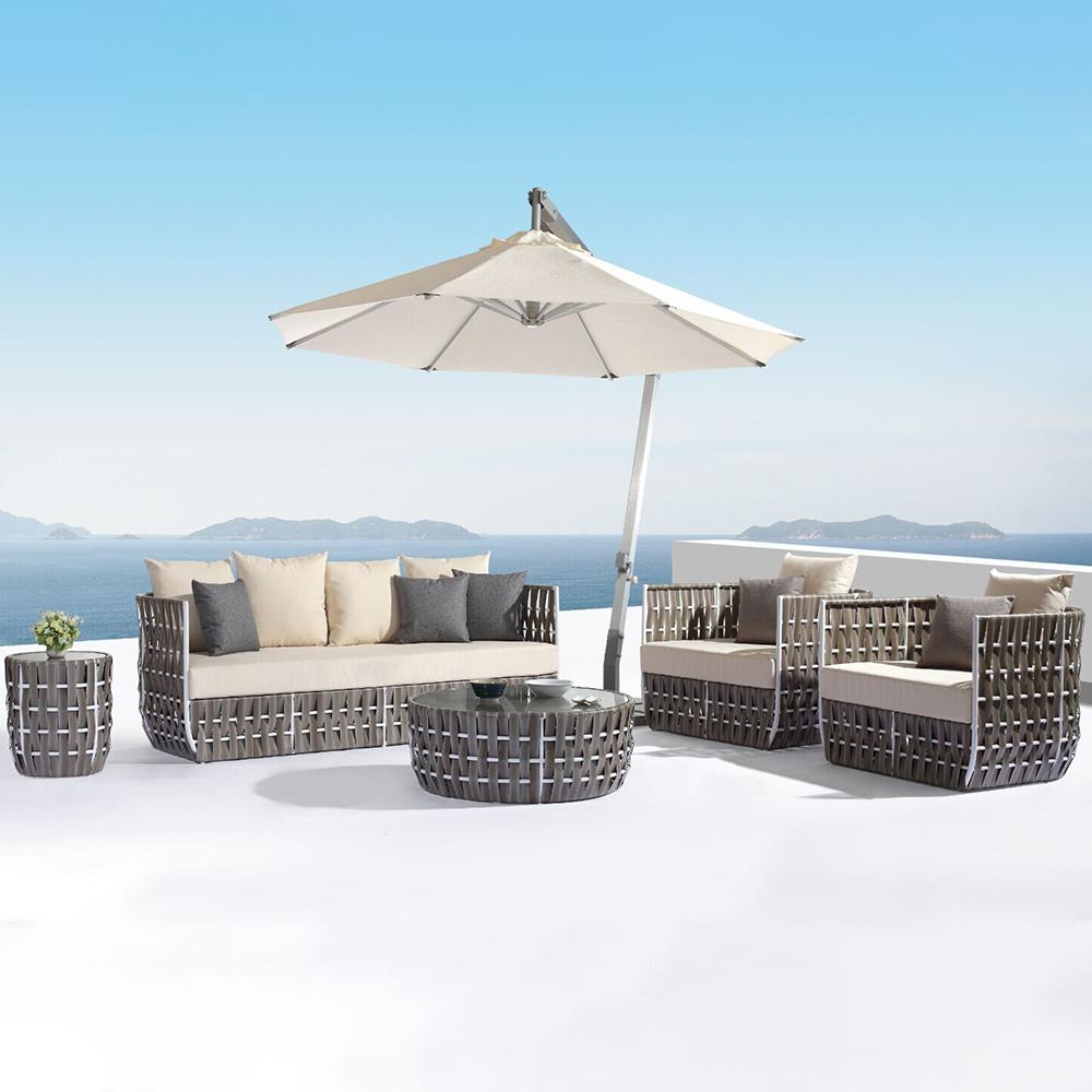 salon de jardin pour 4 5 personnes en rotin pe et aluminium gris. Black Bedroom Furniture Sets. Home Design Ideas