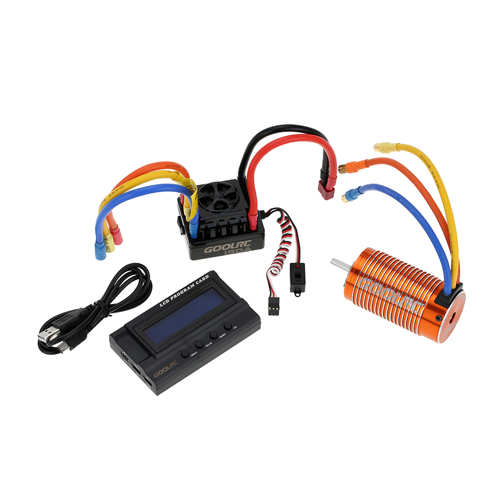 Goolrc 4076 2000kv Sensorless Brushless Motor 150a Esc Bec For Rc Car Wiring Diagram With 84v 3a Switch Mode Lcd Programming Card Combo Set 1 8