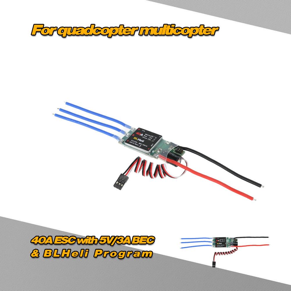40A Brushless ESC Electronic Speed Controller with 5V/3A BEC & BLHeli  Program for DIY 550 650 RC Quadcopter Multicopter - RcMoment com