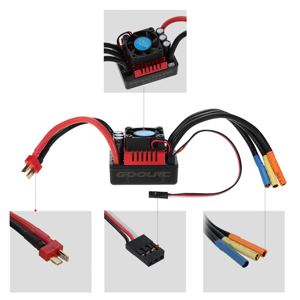 goolrc s3674 2650kv sensorless brushless motor 120a brushless esc rh  rcmoment com rc car motor wiring rc car receiver wiring diagram