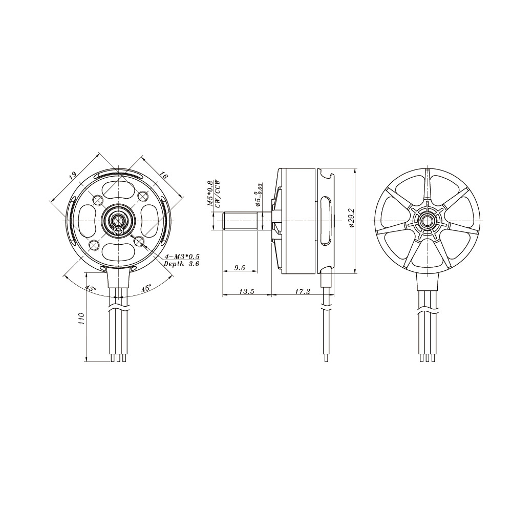 1 2 Pairs Sunnysky R2306 2700kv Cw Ccw 3 4s Brushless Motor For 210 Multirotor Wiring Diagram Qav250 Fpv Racing Drone Quadcopter